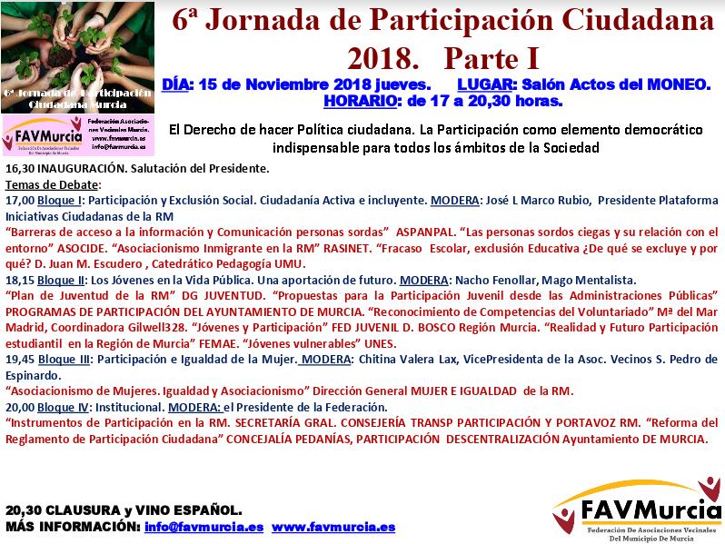 6ª Jornada Participación Ciudadana Parte I 15 de Noviembre de 2018
