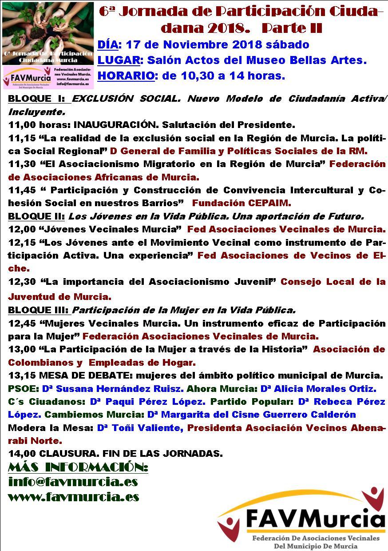 6ª Jornada Participación Ciudadana Parte II 17 de Noviembre de 2018